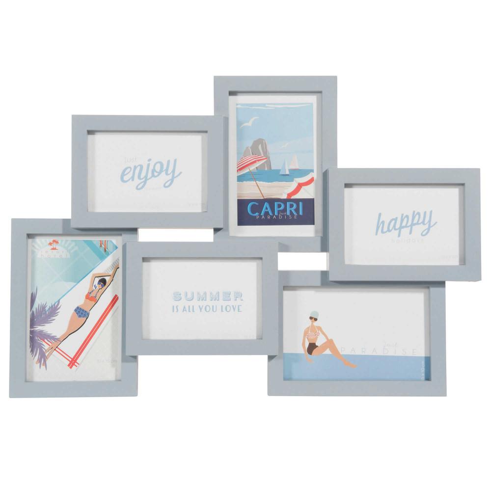 cadre photo 6 vues en plastique bleu 32 x 47 cm felicita maisons du monde. Black Bedroom Furniture Sets. Home Design Ideas