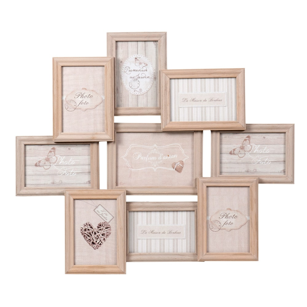 cadre photo 9 vues en bois 52 x 60 cm relief maisons du. Black Bedroom Furniture Sets. Home Design Ideas