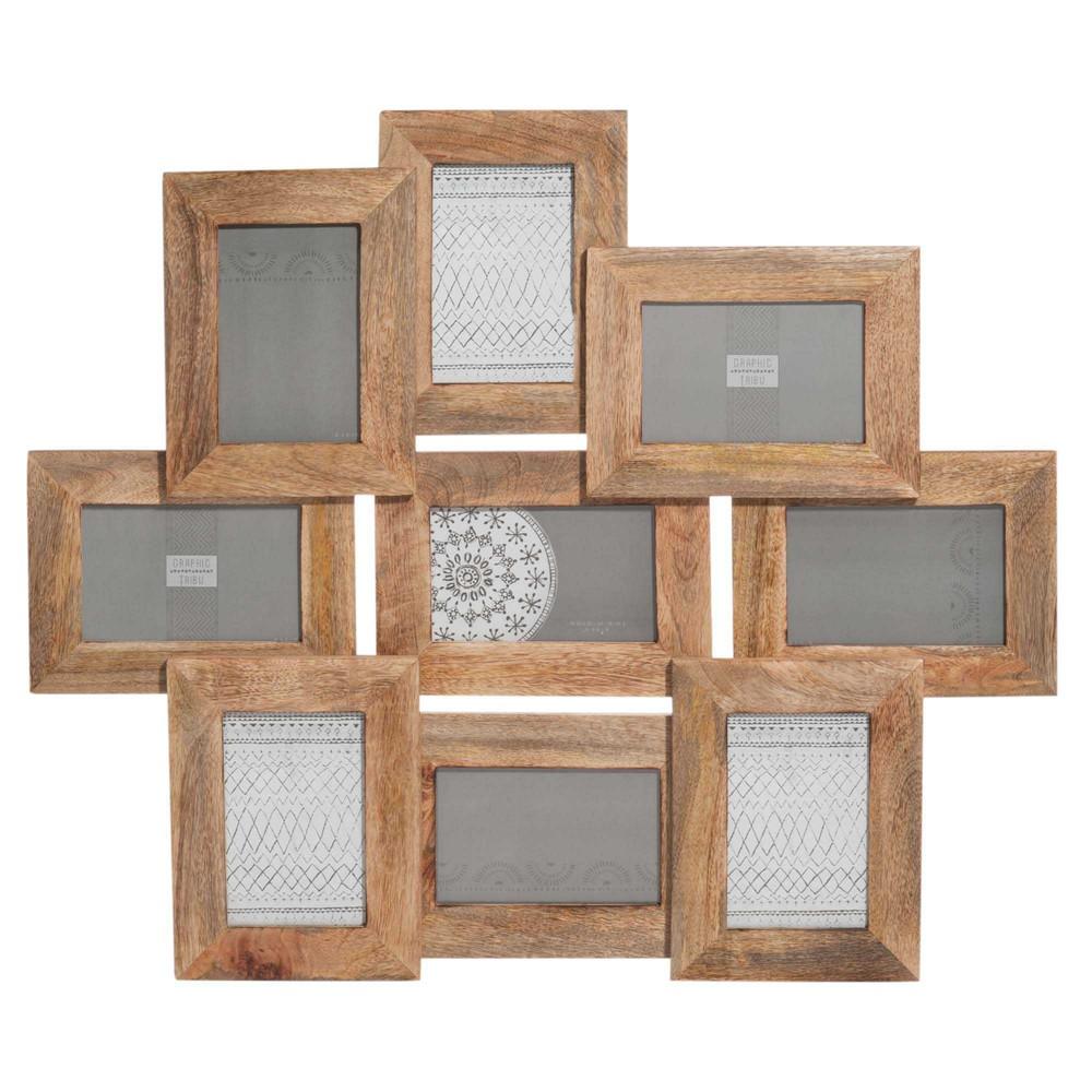 Cadre photo 9 vues en bois 58 x 66 cm ayna maisons du monde for Cadre bois flotte maison du monde
