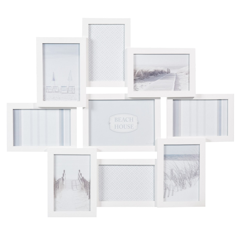 cadre photo 9 vues en bois blanc 50 x 58 cm relief. Black Bedroom Furniture Sets. Home Design Ideas