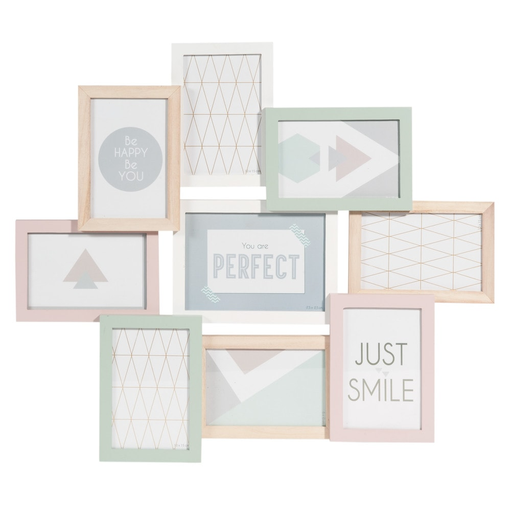 cadre photo 9 vues en bois pastel 50 x 57 cm graphic maisons du monde. Black Bedroom Furniture Sets. Home Design Ideas