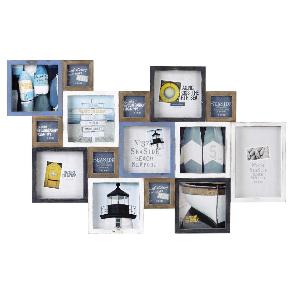 cadre photo en bois bleu et blanc 70 x 113 cm portland. Black Bedroom Furniture Sets. Home Design Ideas