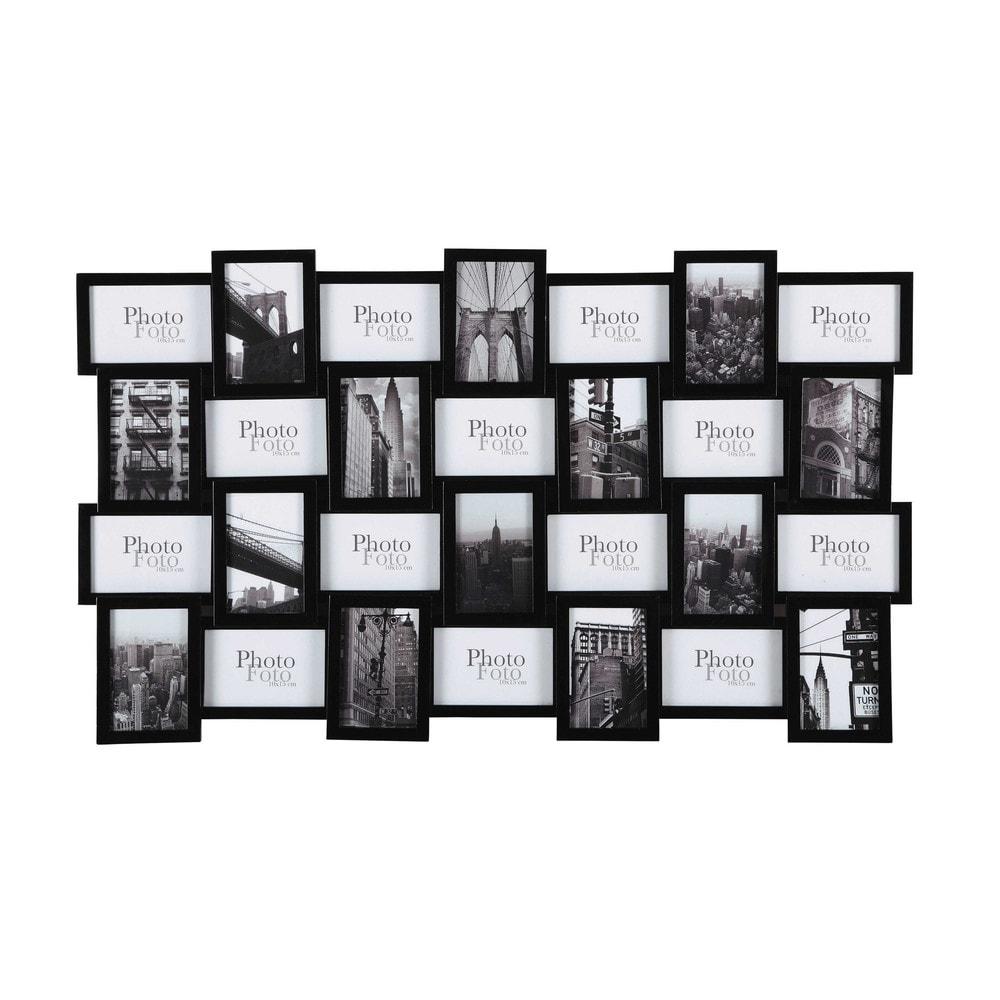 Cadre photo en bois noir 59 x 100 cm decalage maisons du for Pele mele photo maison du monde