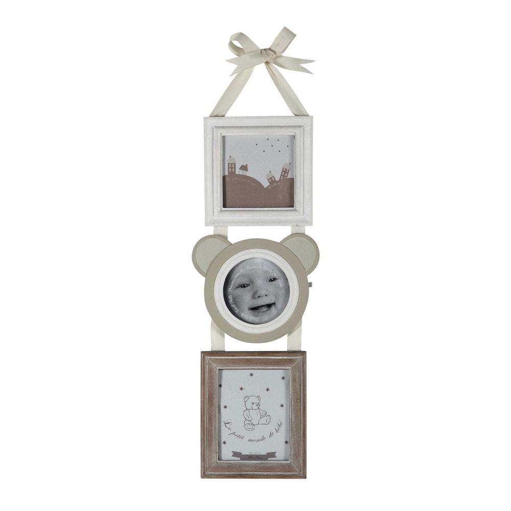 cadre photo enfant multivues en r sine 18 x 50 cm ourson. Black Bedroom Furniture Sets. Home Design Ideas