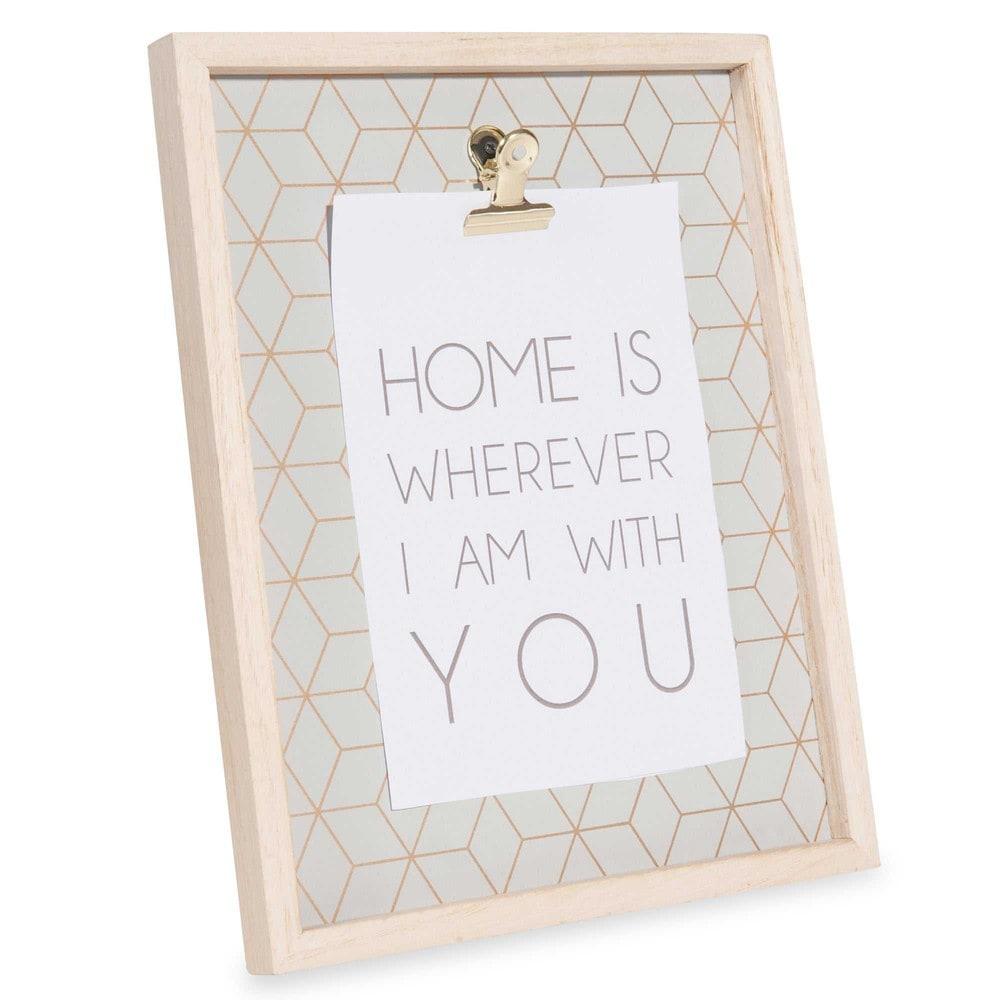 Cadre pince photo en bois 20 x 25 cm modern grey maisons - Cadre photo avec pince linge ...