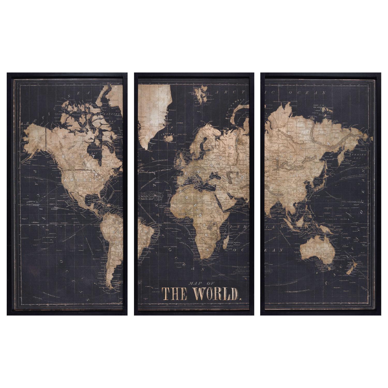 Cadre triptyque carte du monde noir 180x120 Explore | Maisons du Monde