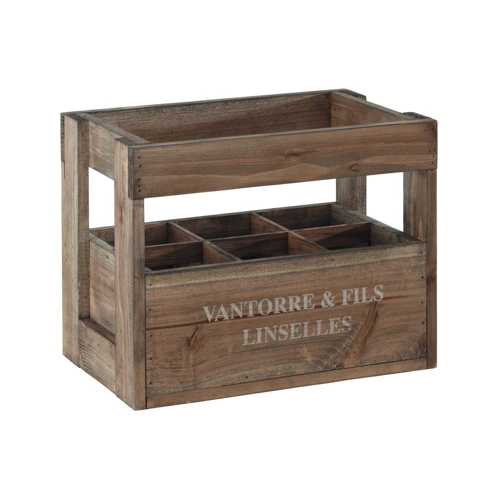 caisse bouteilles en bois 30 x 39 cm aristide maisons. Black Bedroom Furniture Sets. Home Design Ideas