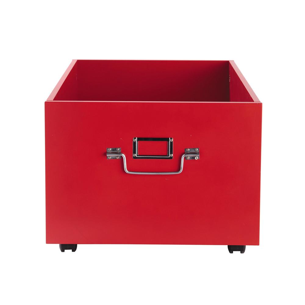 Caisson Roulettes En Bois Rouge L 60 Cm Tonic Maisons