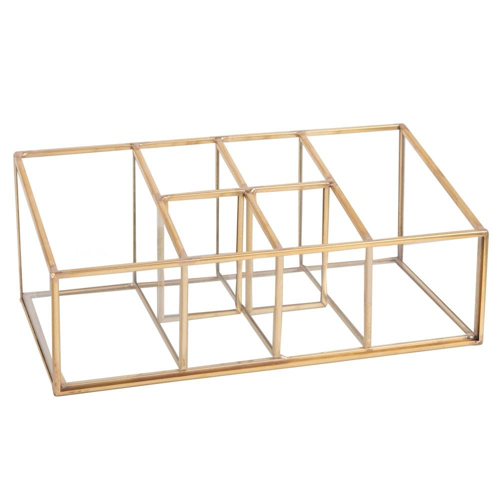 Caja Con 6 Compartimentos De Cristal Y Metal Dorado