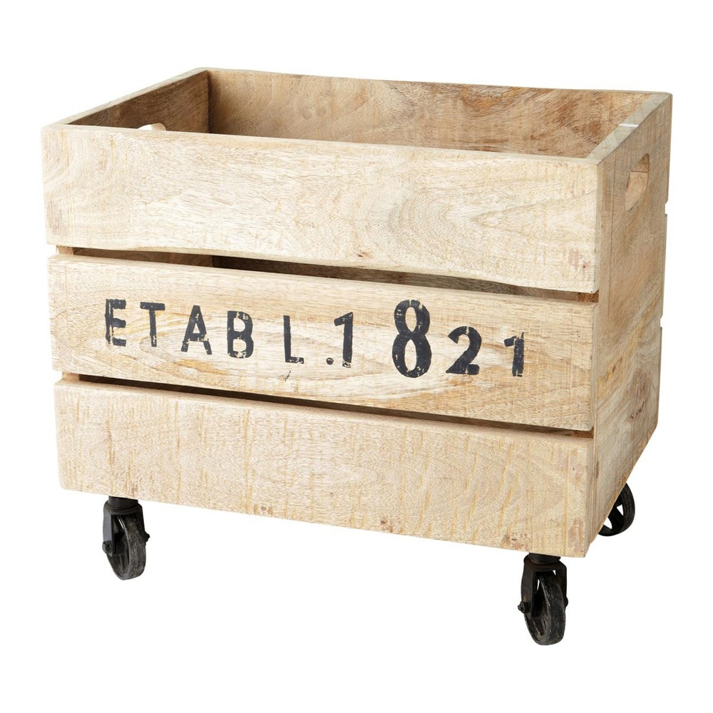Caja con ruedas de madera 32 x 46 cm railway maisons du - Caja madera con ruedas ...