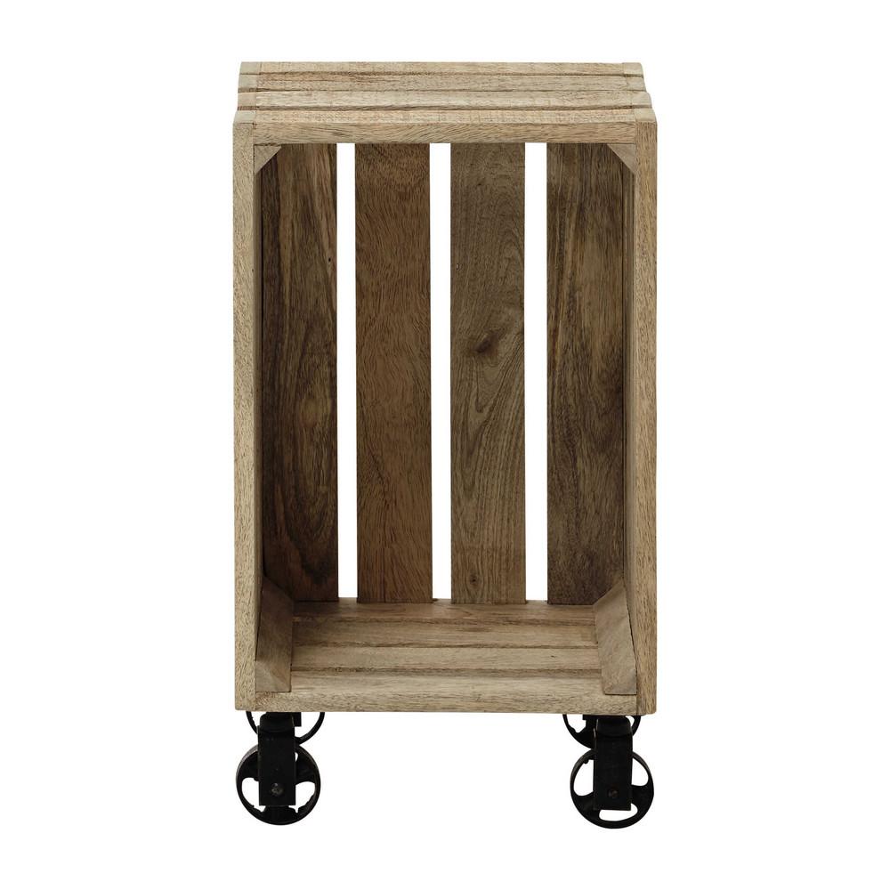 Caja de madera de mango con ruedas 32 56 cm armel - Caja madera con ruedas ...