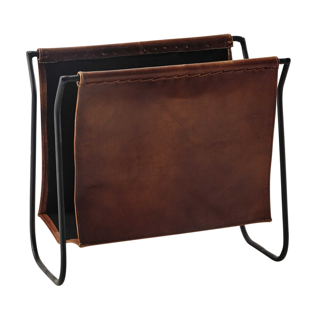 Calvin leather and metal magazine rack in brown maisons for Album photo maison du monde