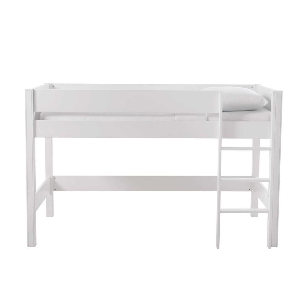 Cama alta infantil 90 x 190 cm de madera blanca tonic for Camas blancas de madera