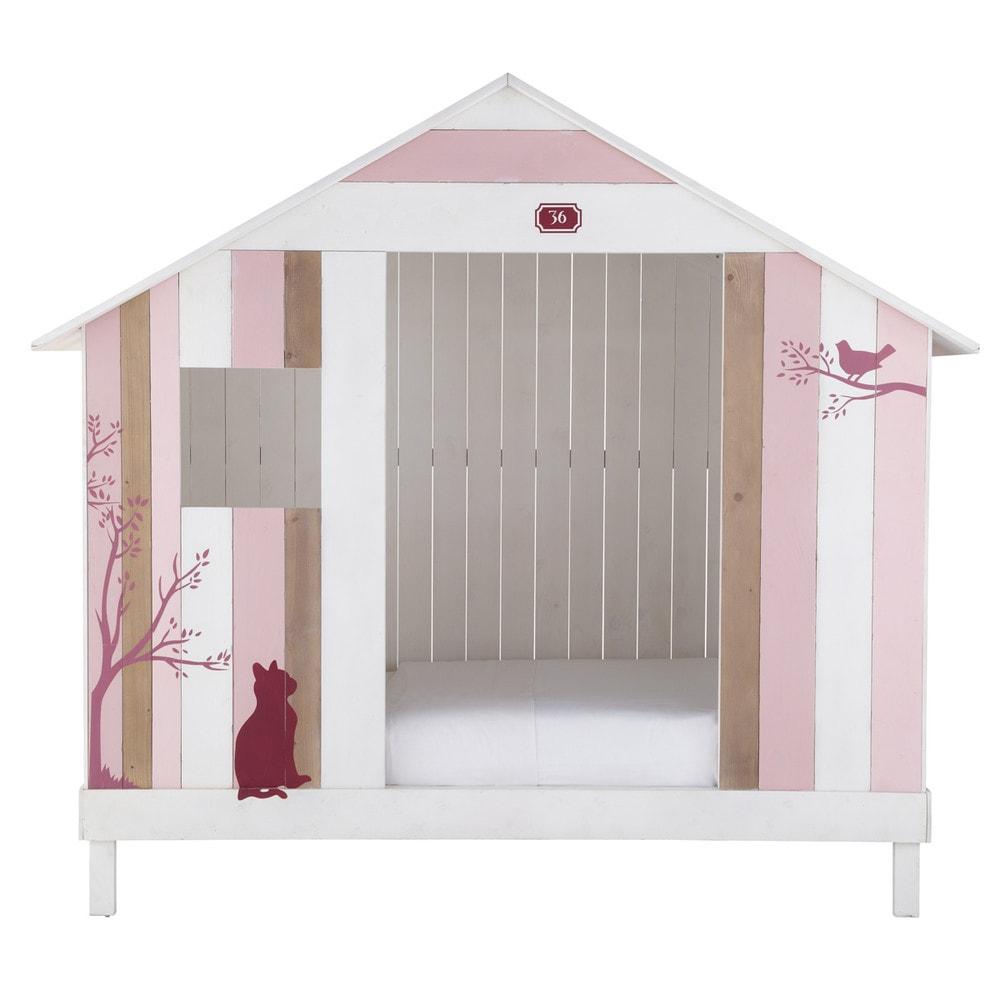 Cama caba a infantil 90 190 cm de madera rosa y blanca for Cabana madera ninos