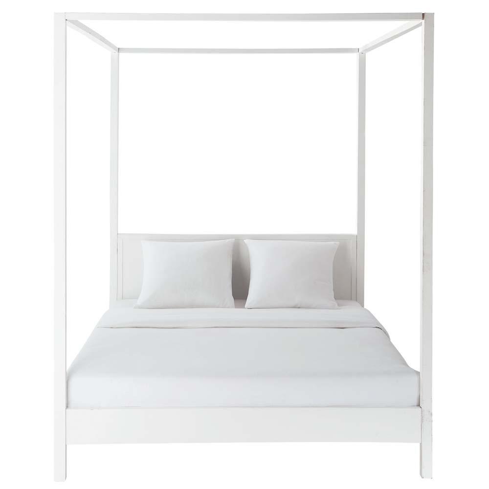 Cama con dosel 160 x 200 cm de madera blanco roto celeste - Cama dosel madera ...