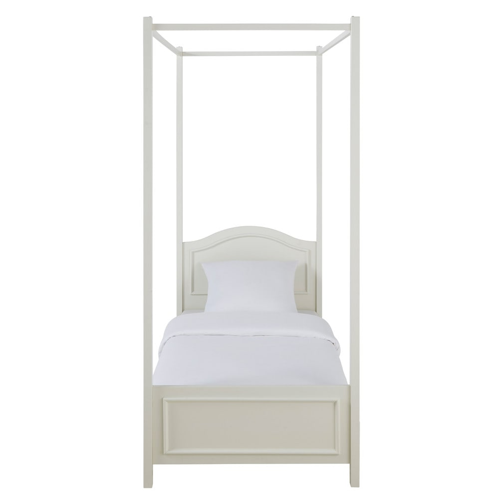 Cama con dosel 90 190 cm de madera blanca manosque - Cama dosel madera ...