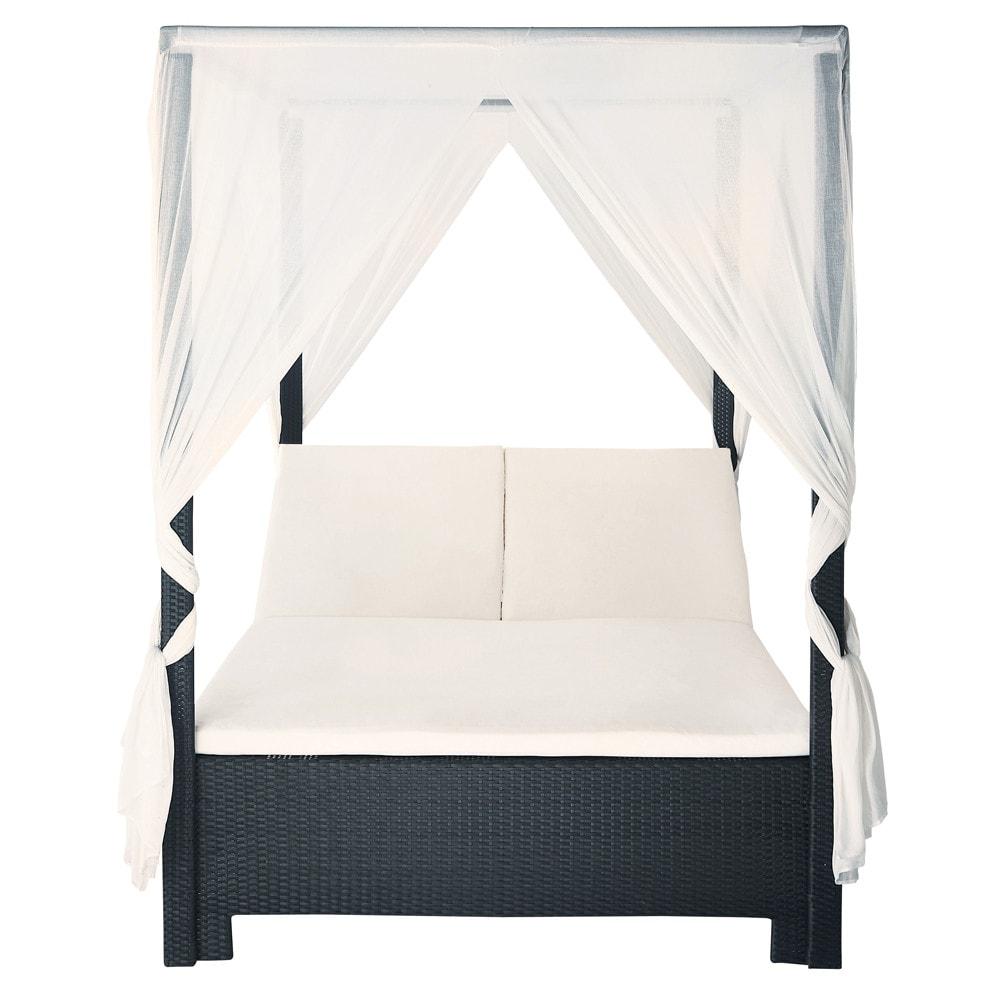 cama con dosel de exterior de resina trenzada negra 150 x. Black Bedroom Furniture Sets. Home Design Ideas
