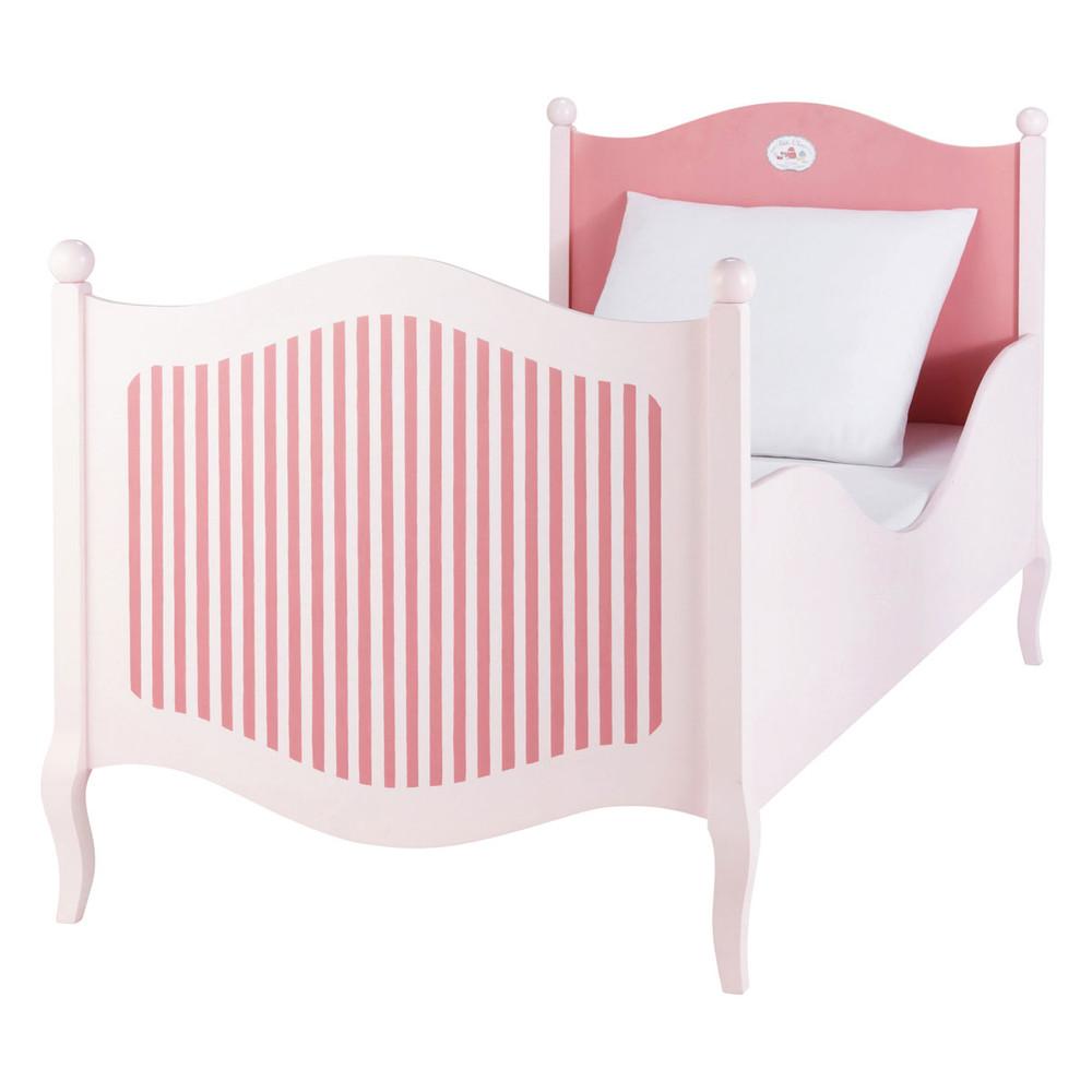 Cama infantil 90 190 cm de madera rosa y blanca for Camas blancas de madera