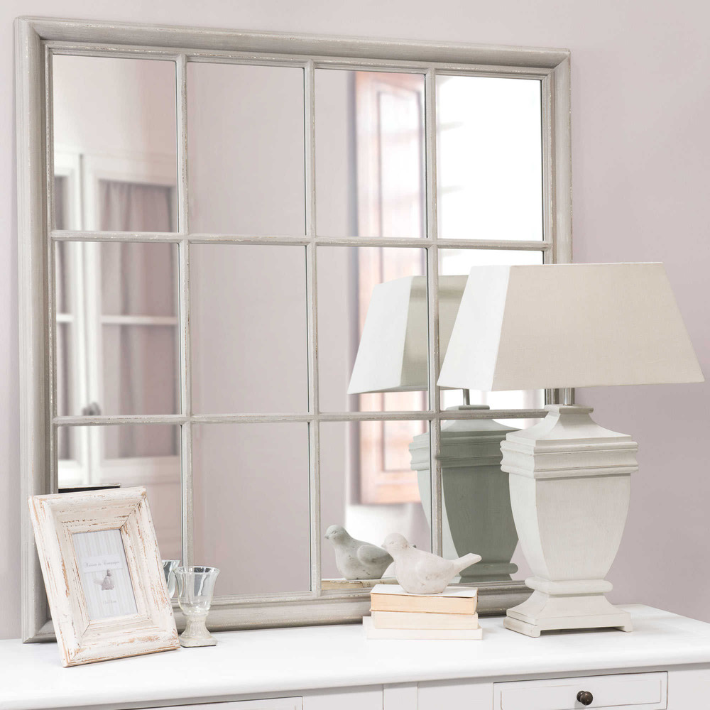 Camargue wooden mirror in grey h 120cm maisons du monde for Maison de monde uk