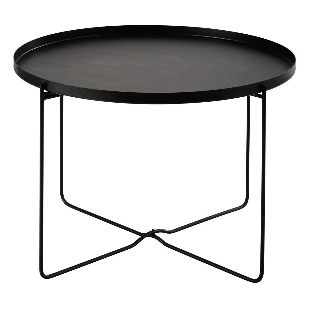 CAMERON metal side table in black D 71cm   Maisons du Monde