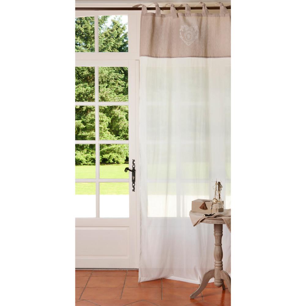 CAMILLE Cotton Tie Top Curtain In Beige 105 X 250cm