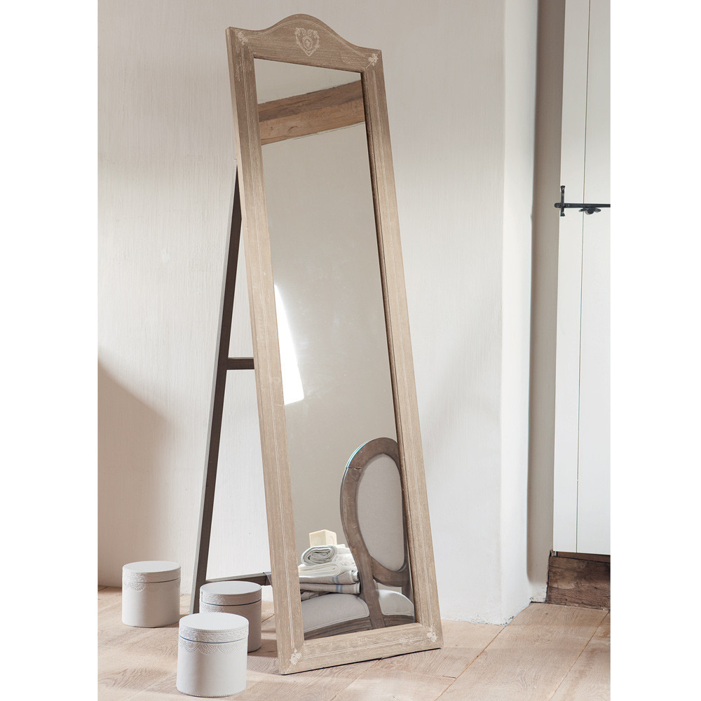 CAMILLE Paulownia Wood Cheval Mirror H 170cm