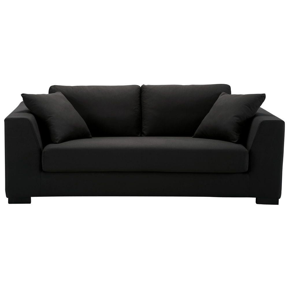 canap 2 3 places convertible coton noir terence maisons. Black Bedroom Furniture Sets. Home Design Ideas