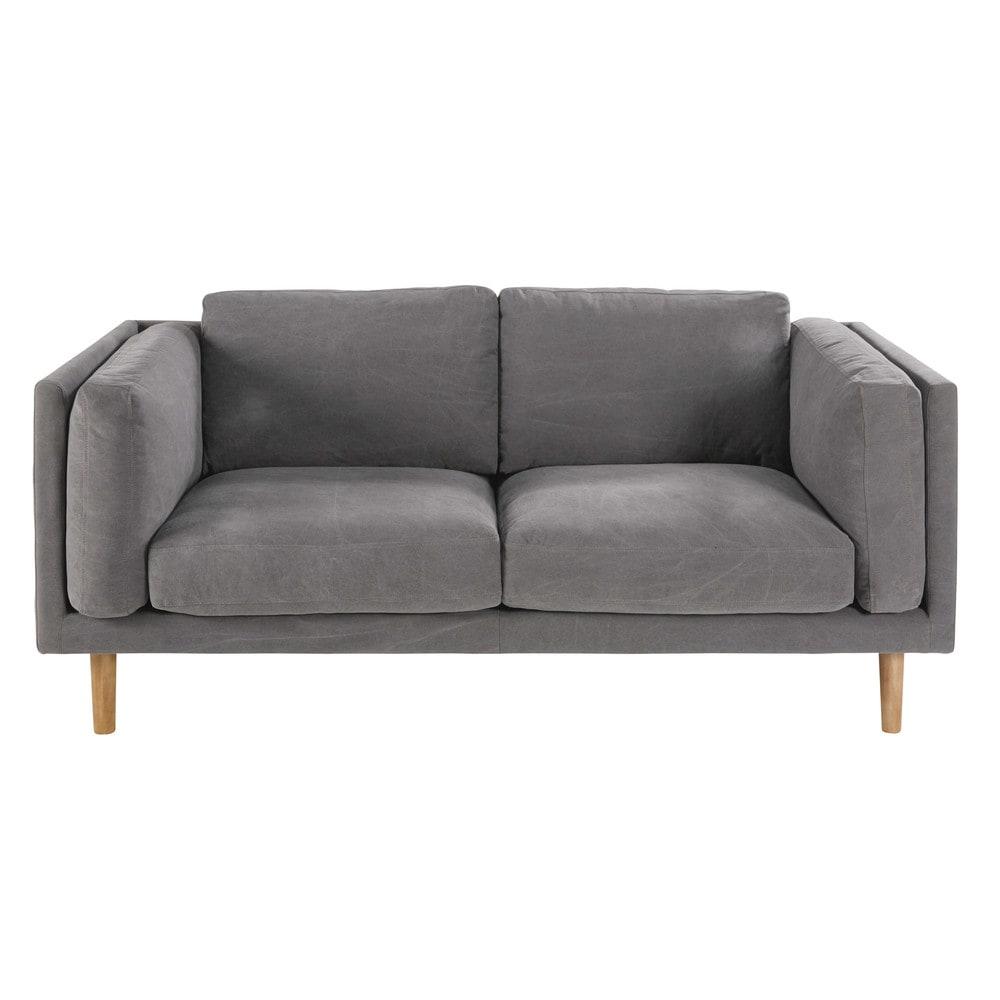 canap 2 3 places en coton gris harper maisons du monde. Black Bedroom Furniture Sets. Home Design Ideas