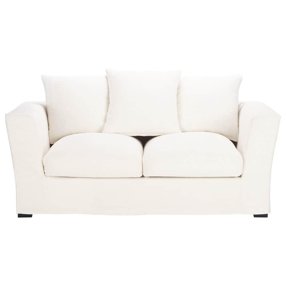 Canap 2 3 places en lin blanc bruxelles maisons du monde - Canape en lin blanc ...
