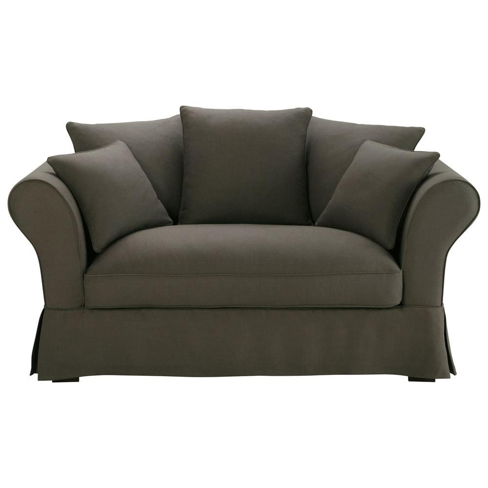 canap 2 3 places en lin taupe gris roma maisons du monde. Black Bedroom Furniture Sets. Home Design Ideas