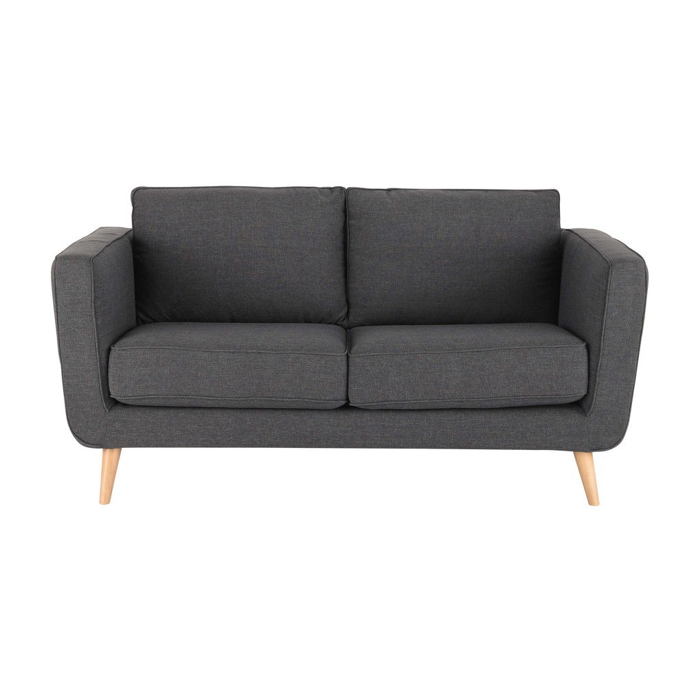 Canap 2 3 places en tissu anthracite nils maisons du monde for But canape 2 places
