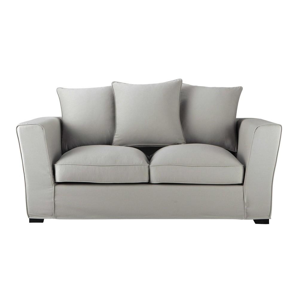 Canap 2 3 places en tissu gris clair balthazar maisons du monde - Comment nettoyer un canape en tissu non dehoussable ...