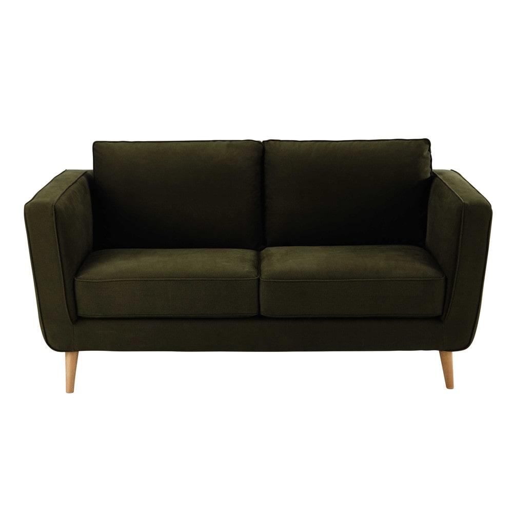 canap 2 3 places en tissu kendo kaki nils maisons du monde. Black Bedroom Furniture Sets. Home Design Ideas