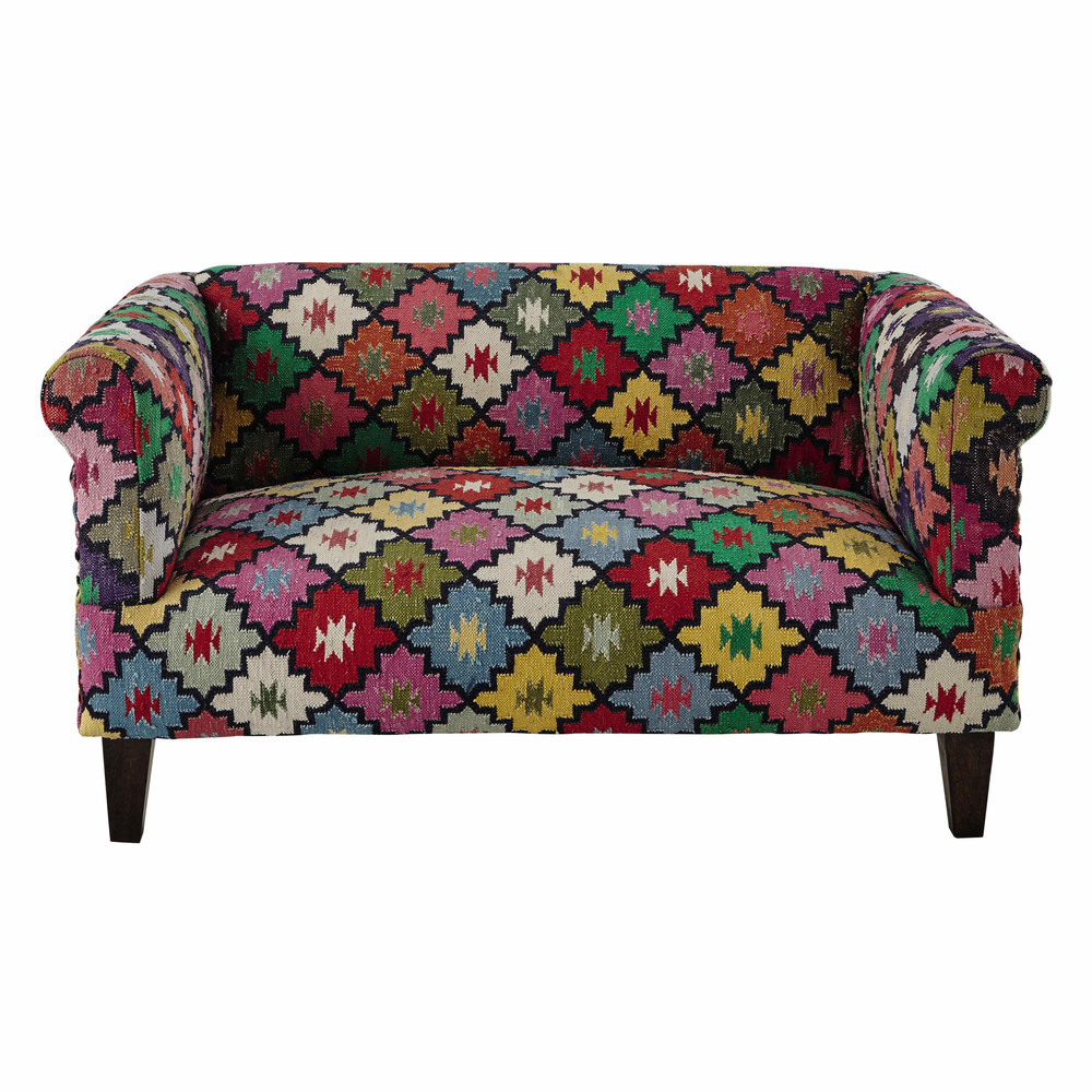 Canap 2 3 places en tressage kilim multicolore arlequin - Canape crapaud 2 places ...