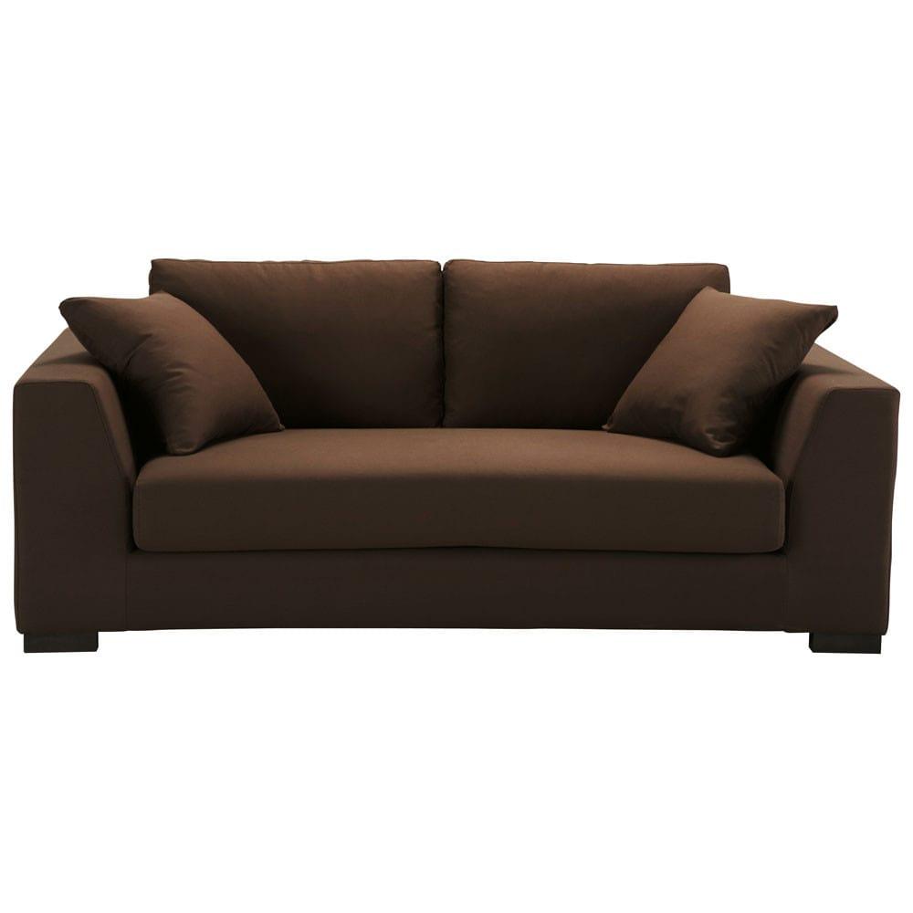 canap 2 3 places fixe coton chocolat terence maisons du monde. Black Bedroom Furniture Sets. Home Design Ideas