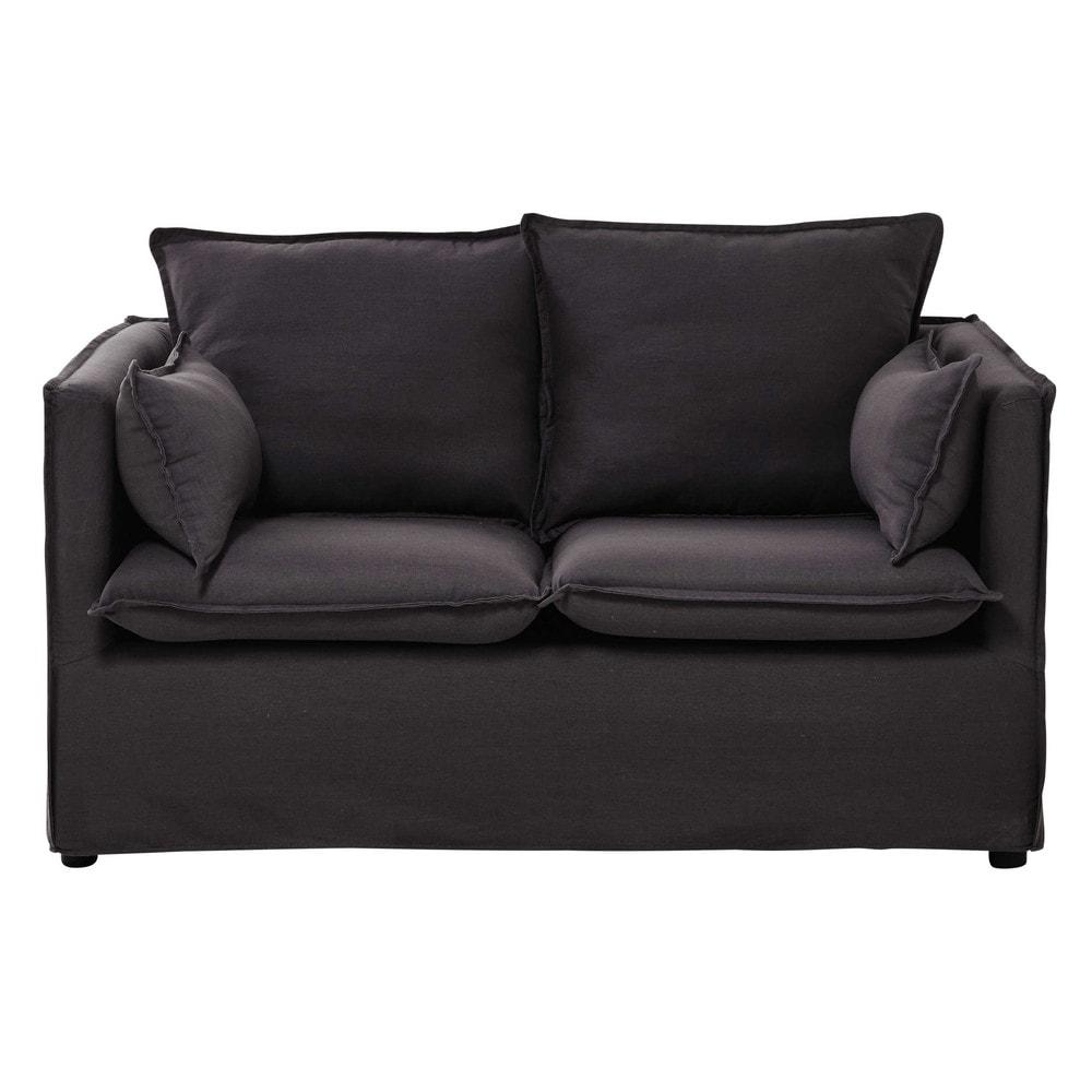 canap 2 places en coton et lin gris ardoise edimbourg. Black Bedroom Furniture Sets. Home Design Ideas
