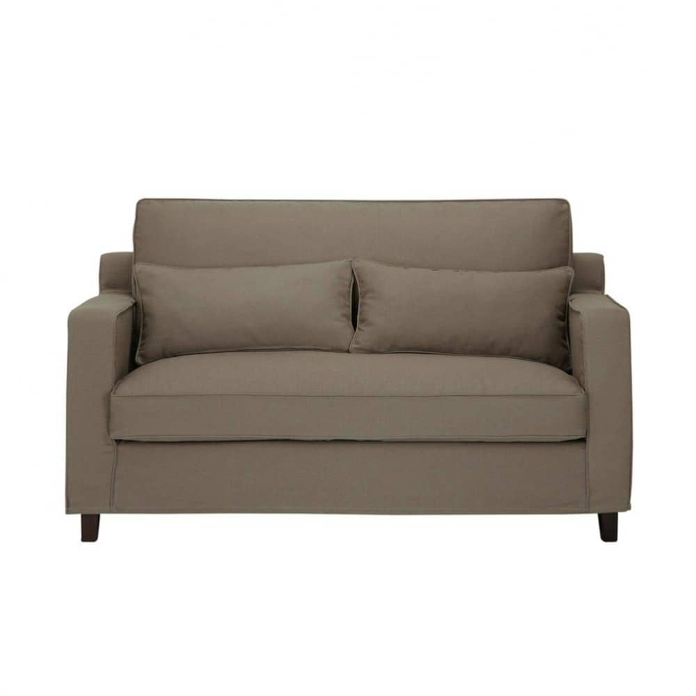Canap 2 places en coton taupe saint r my maisons du monde for Canape 2 places arrondi