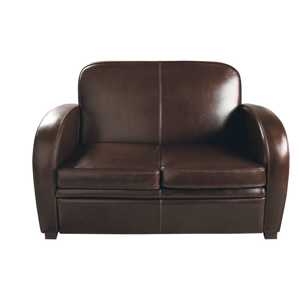 Canapé 2 places en cuir marron Harvard  Maisons du Monde