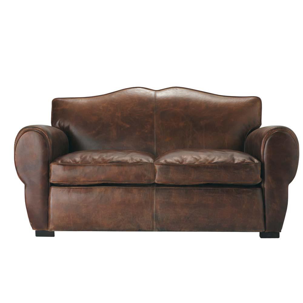 canap 2 places en cuir marron moustache maisons du monde. Black Bedroom Furniture Sets. Home Design Ideas