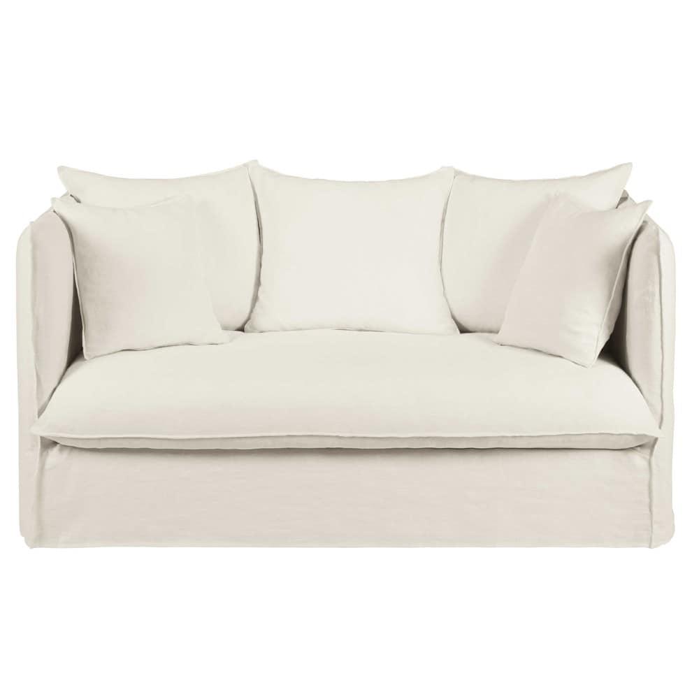 Canap 2 places en lin lav blanc louvre maisons du monde - Canape en lin blanc ...