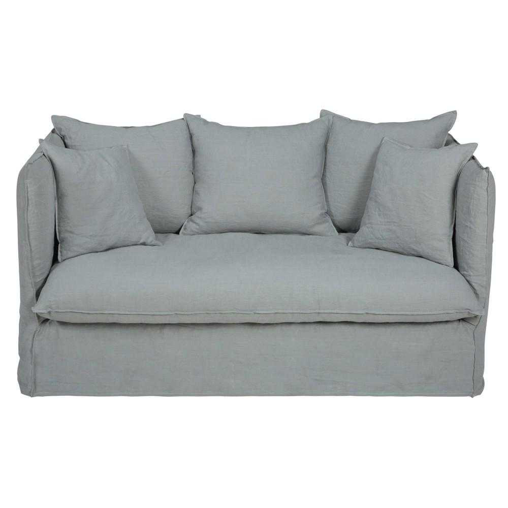 Canap 2 places en lin lav gris clair louvre maisons du for Canape en lin
