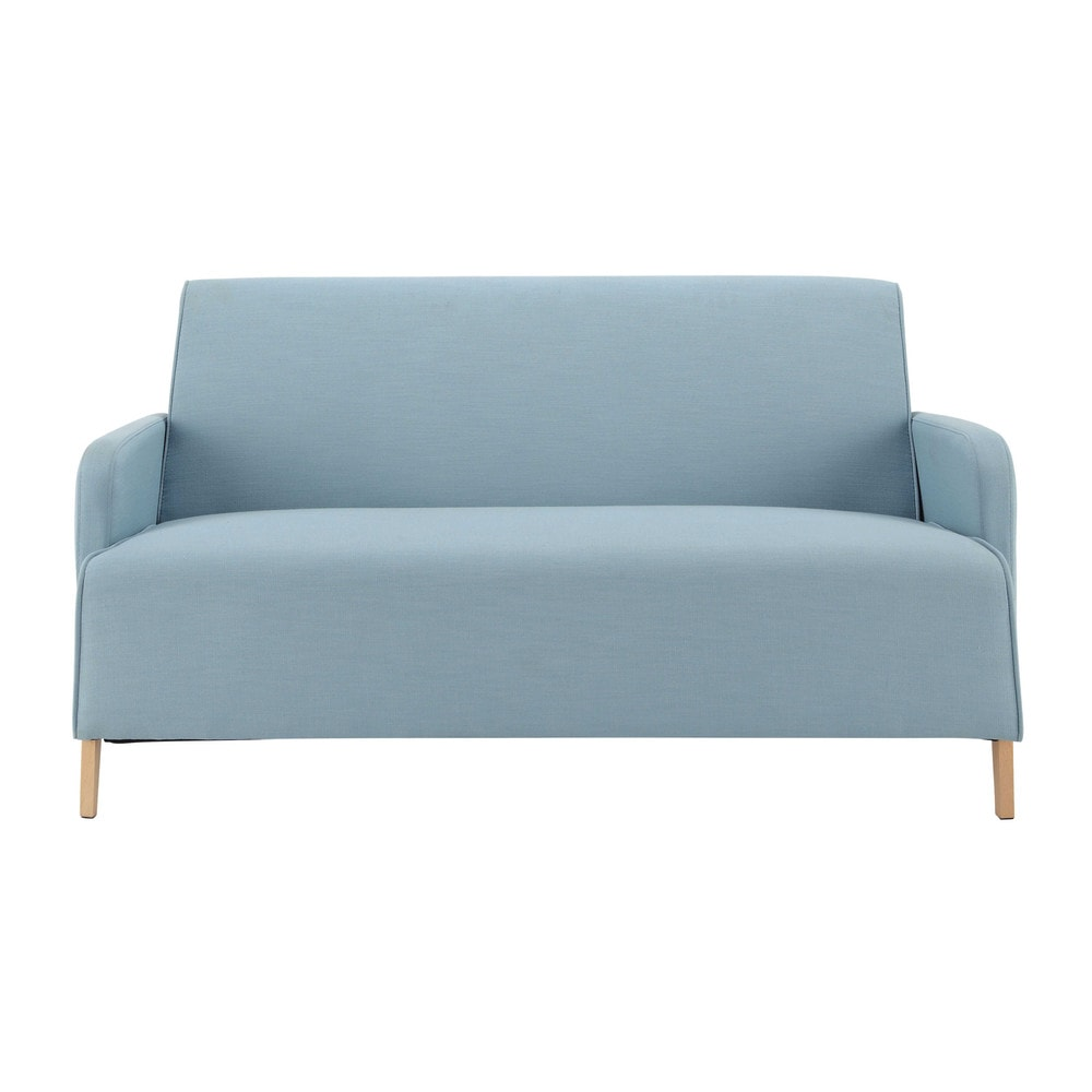 Canap 2 places en tissu bleu adam maisons du monde for Canape lit but 2 places