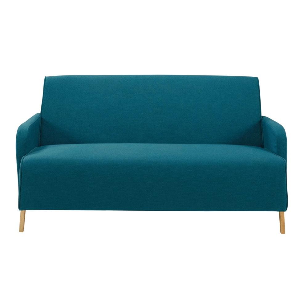 Canap 2 places en tissu bleu p trole adam maisons du monde for Canape 1 place
