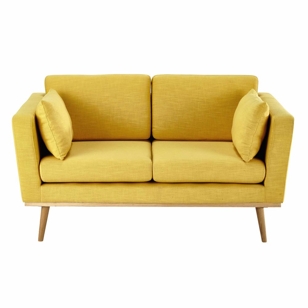 Canap 2 places en tissu jaune timeo maisons du monde for Canape 9 10 places