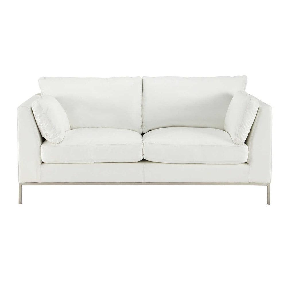 canap 2 places fixe cuir blanc san francisco maisons du monde. Black Bedroom Furniture Sets. Home Design Ideas