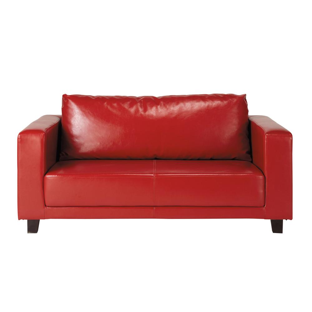 canap 2 places imitation cuir rouge nikeo maisons du monde. Black Bedroom Furniture Sets. Home Design Ideas