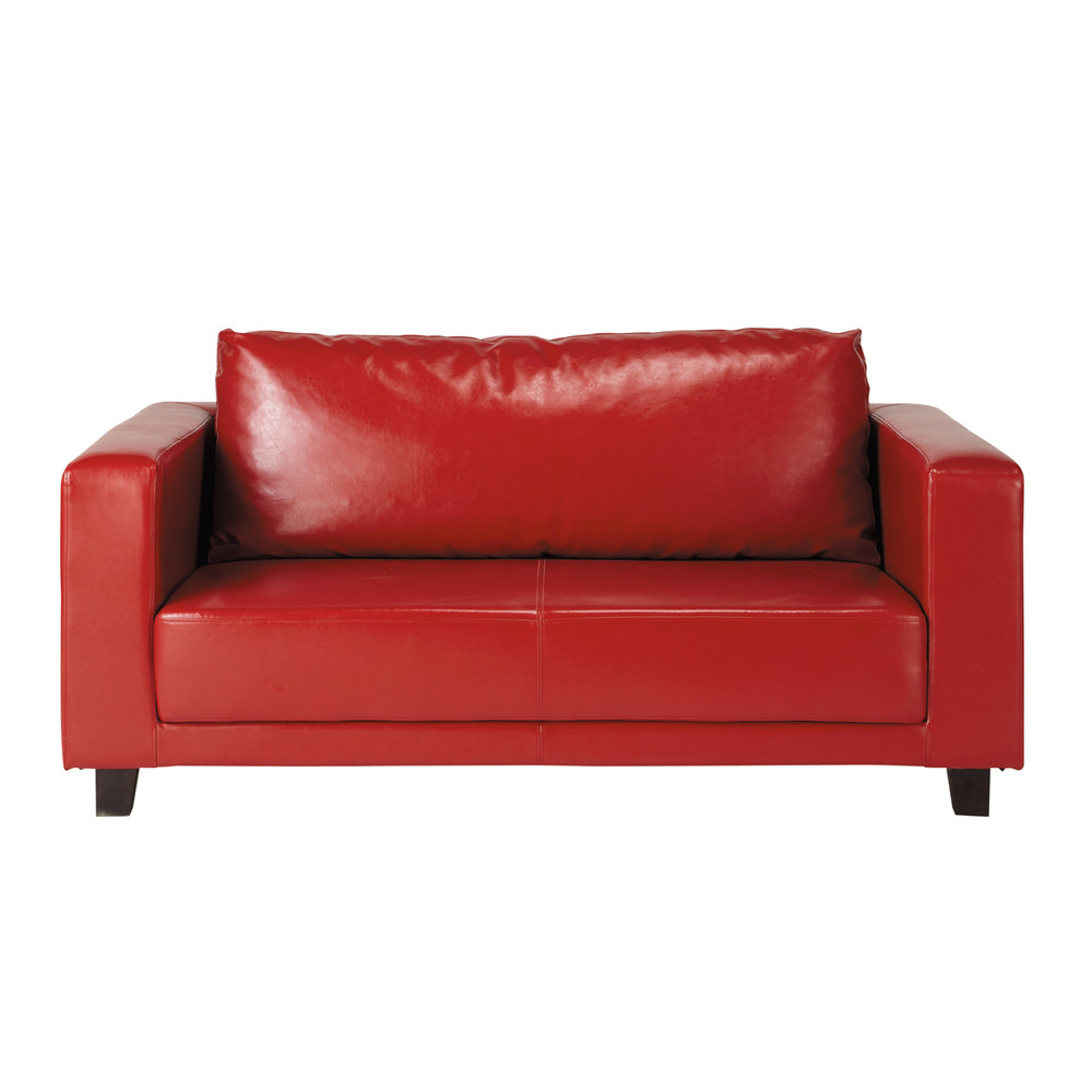 Canap 2 places rouge nikeo maisons du monde for Canape banquette 2 places