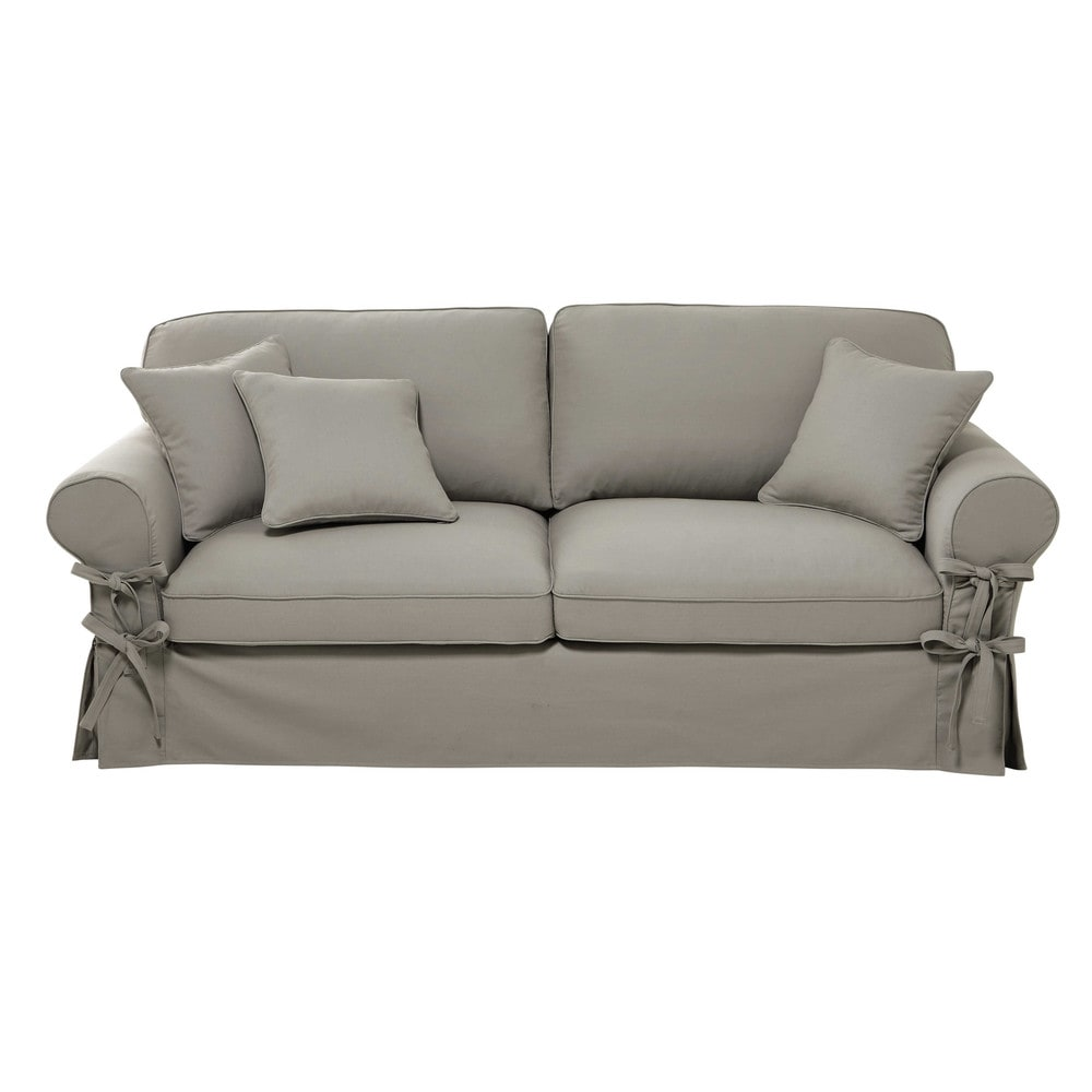 canap 3 4 places en coton gris clair butterfly maisons du monde. Black Bedroom Furniture Sets. Home Design Ideas