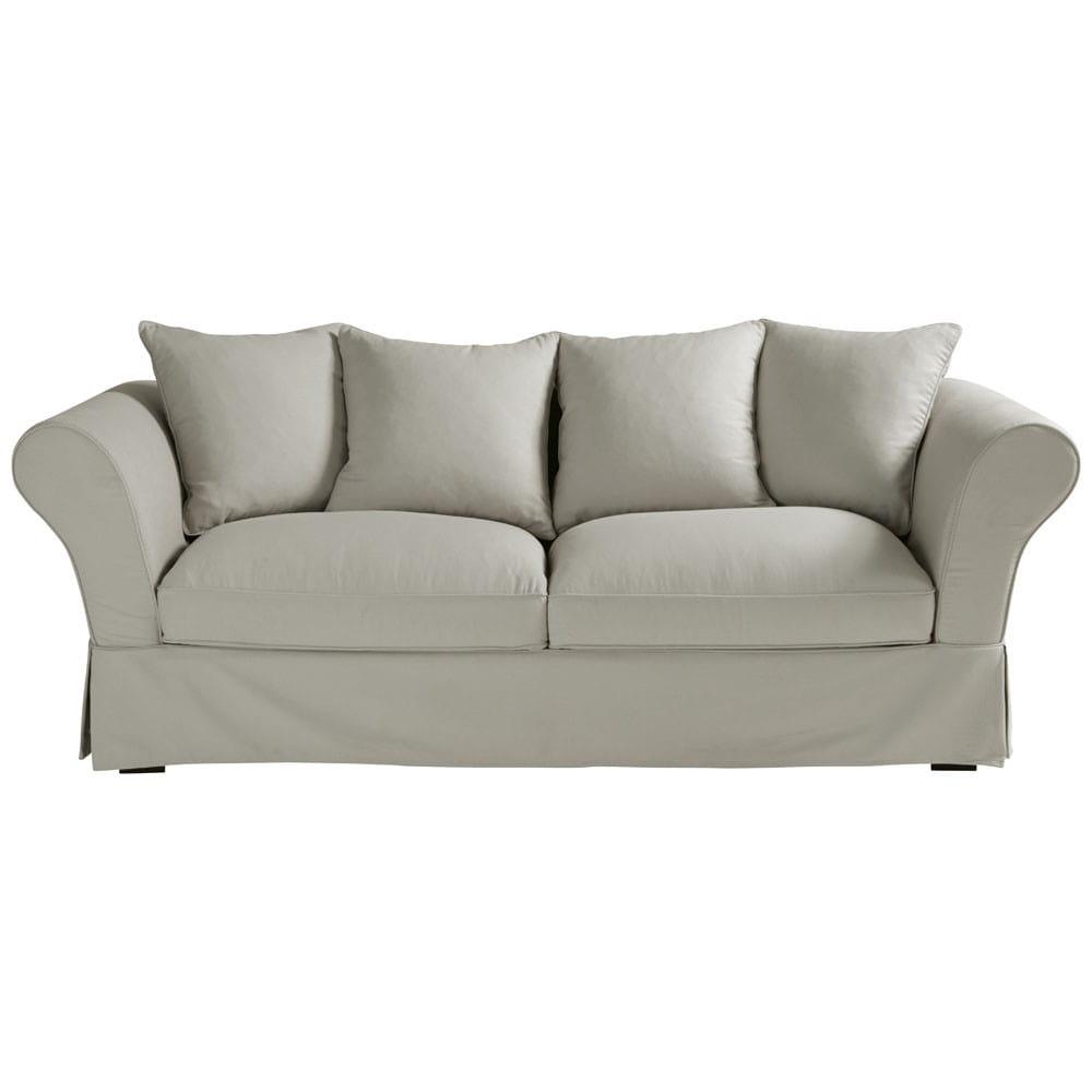 canap 3 4 places en coton gris clair roma maisons du monde. Black Bedroom Furniture Sets. Home Design Ideas