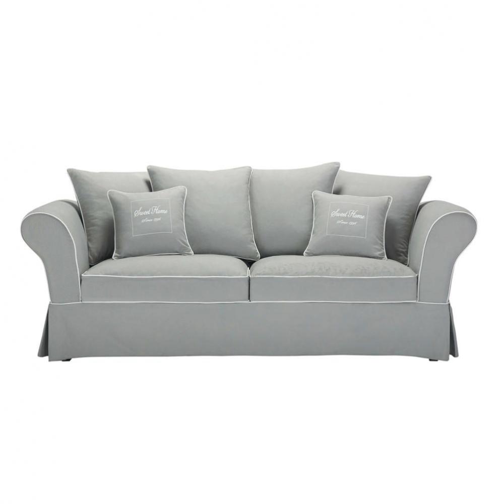 Canap 3 4 places en coton gris sweet home maisons du monde for Canape gris contemporain